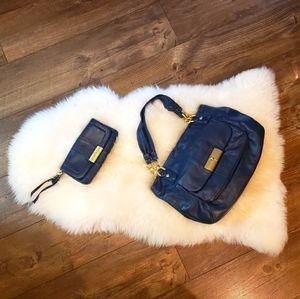 Blue Coach Purse and Wallet Set